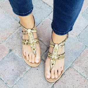 Coach Vicky Snake Embossed Turnlock Wedge Sandals